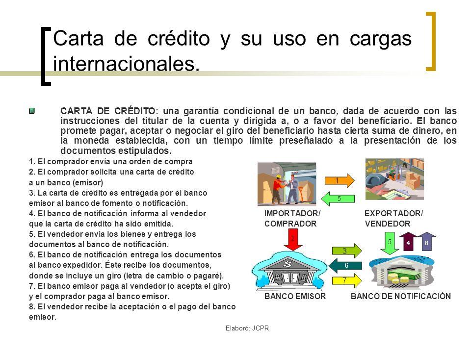 Carta de crédito y su uso en cargas internacionales.