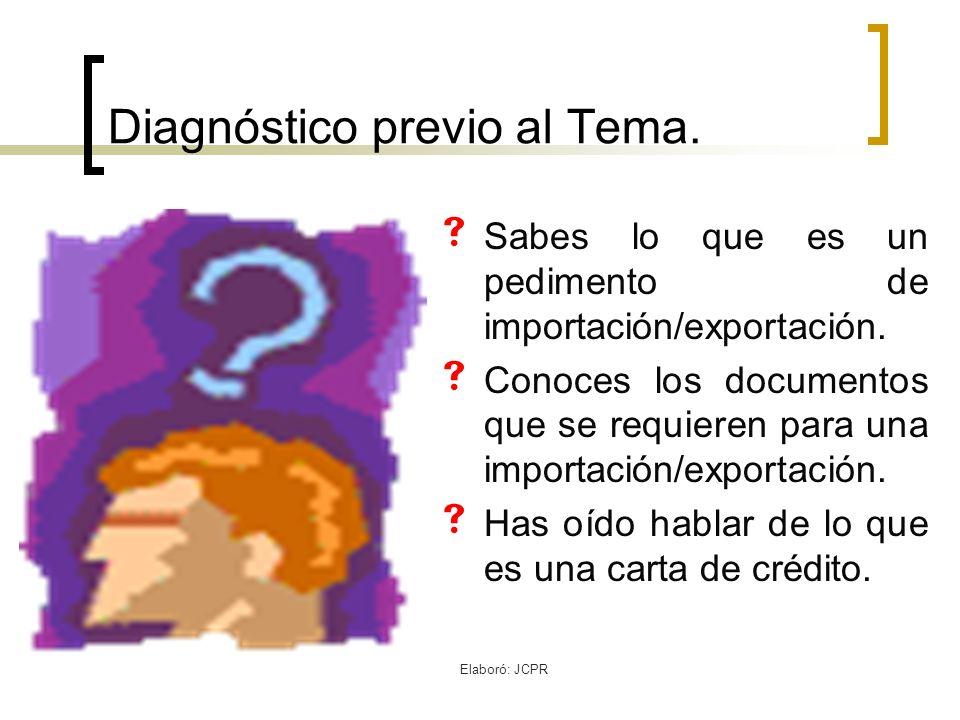 Diagnóstico previo al Tema.