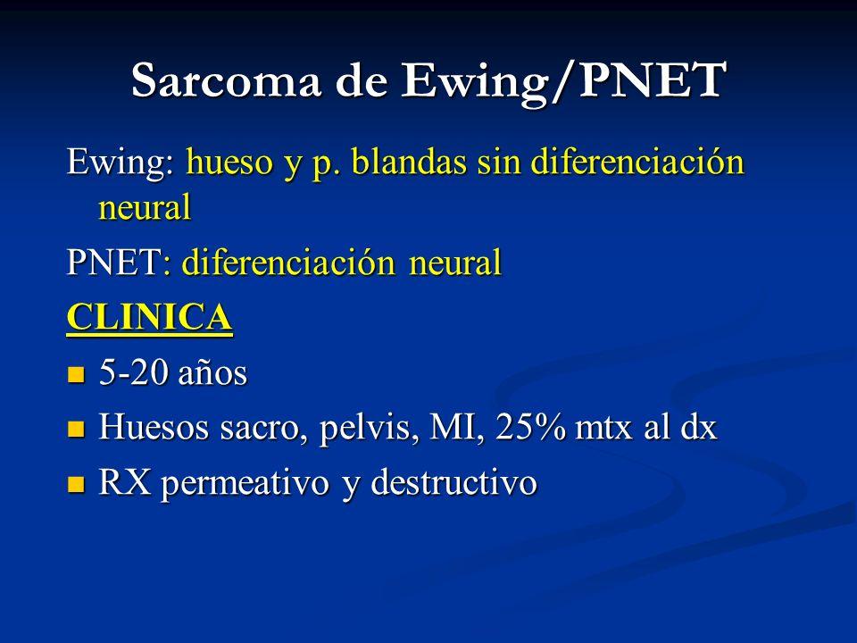 Sarcoma de Ewing/PNETEwing: hueso y p. blandas sin diferenciación neural. PNET: diferenciación neural.