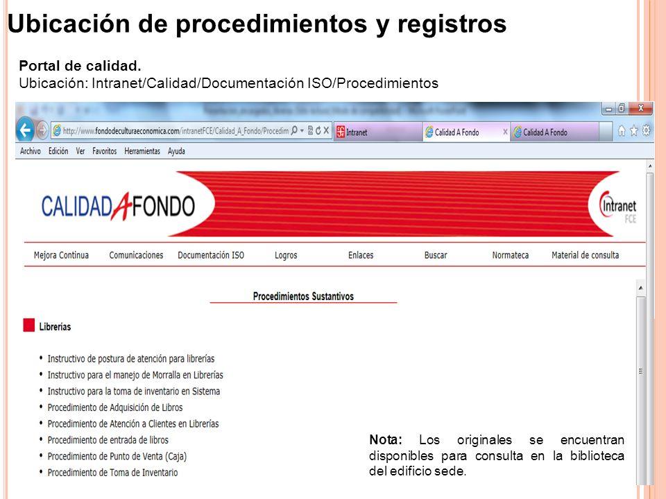 Ubicación de procedimientos y registros