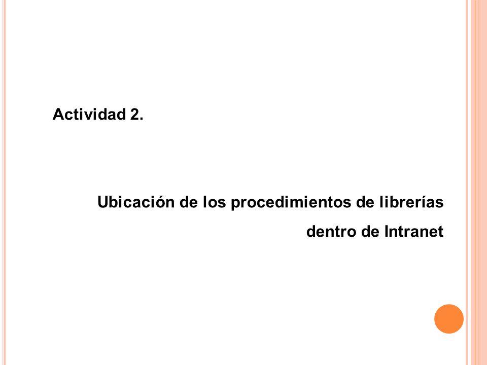 Ubicación de los procedimientos de librerías dentro de Intranet
