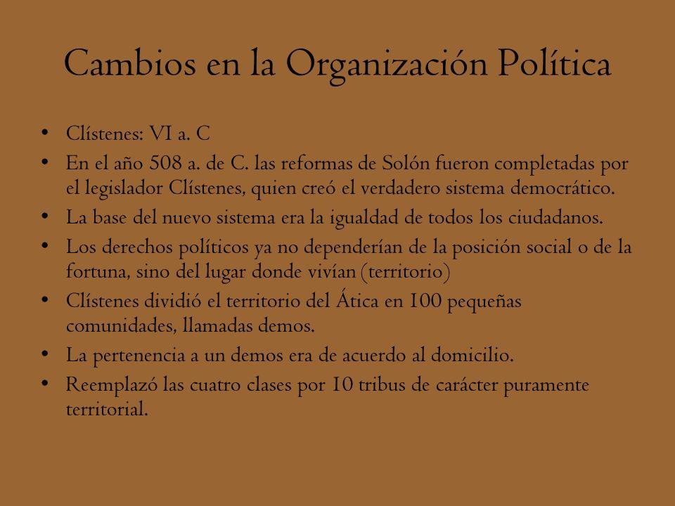 Cambios en la Organización Política