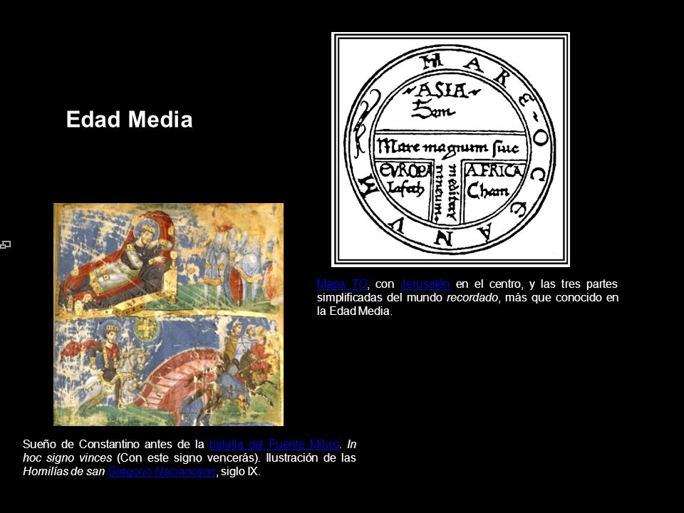 Edad MediaMapa TO, con Jerusalén en el centro, y las tres partes simplificadas del mundo recordado, más que conocido en la Edad Media.