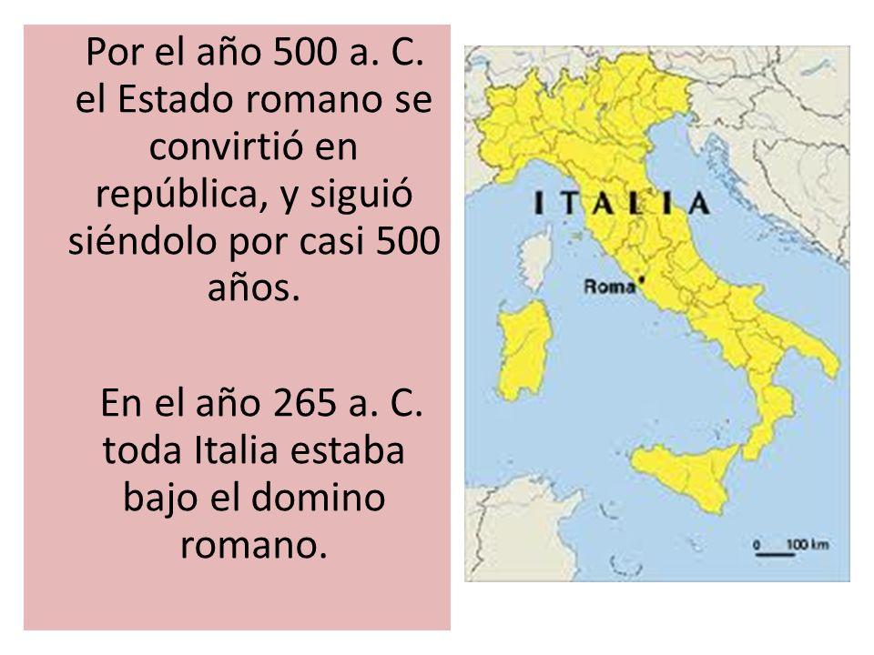 En el año 265 a. C. toda Italia estaba bajo el domino romano.