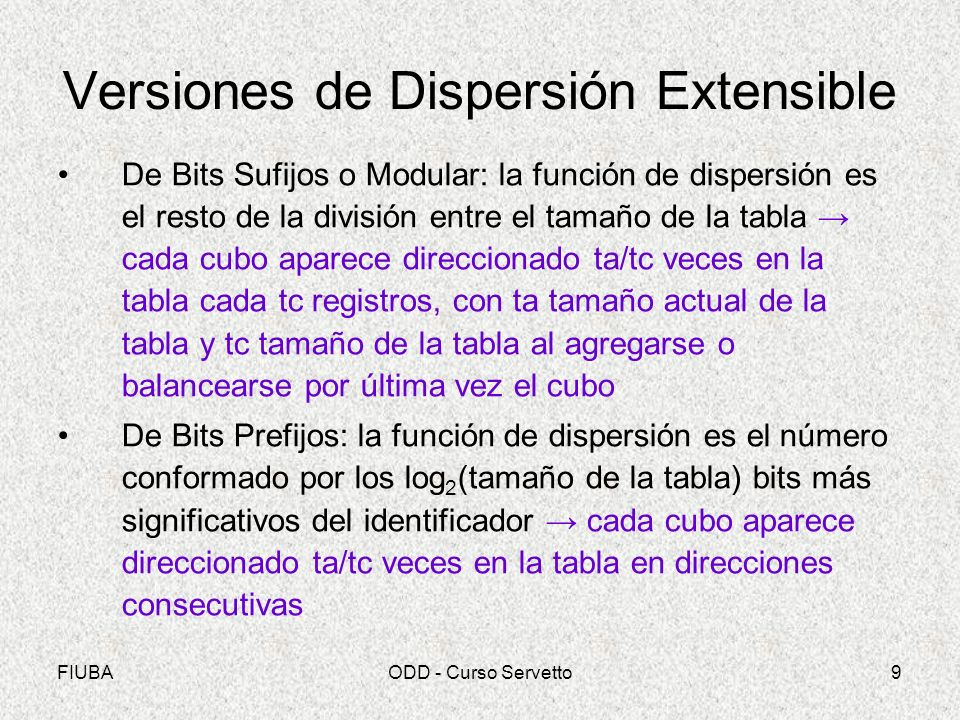 Versiones de Dispersión Extensible