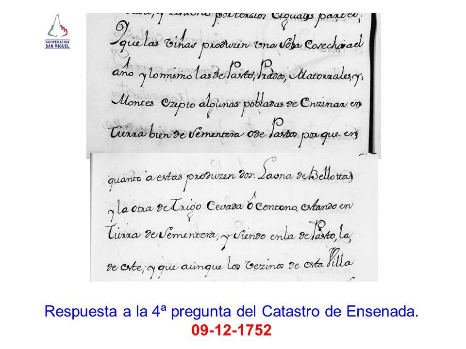 Respuesta a la 4ª pregunta del Catastro de Ensenada.
