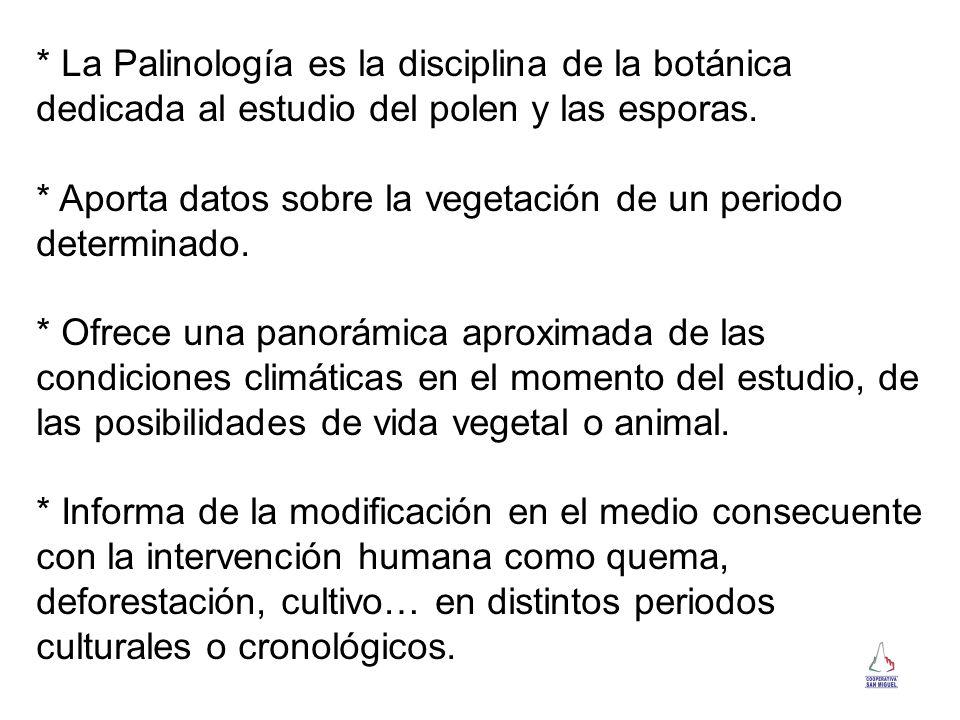 * La Palinología es la disciplina de la botánica dedicada al estudio del polen y las esporas.