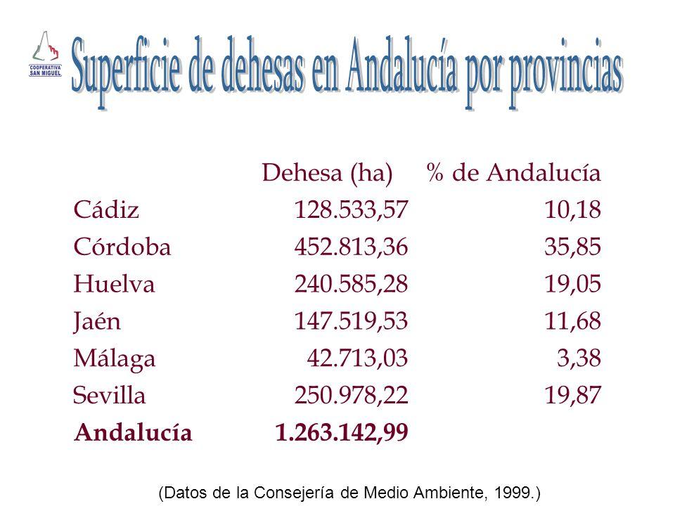 Superficie de dehesas en Andalucía por provincias