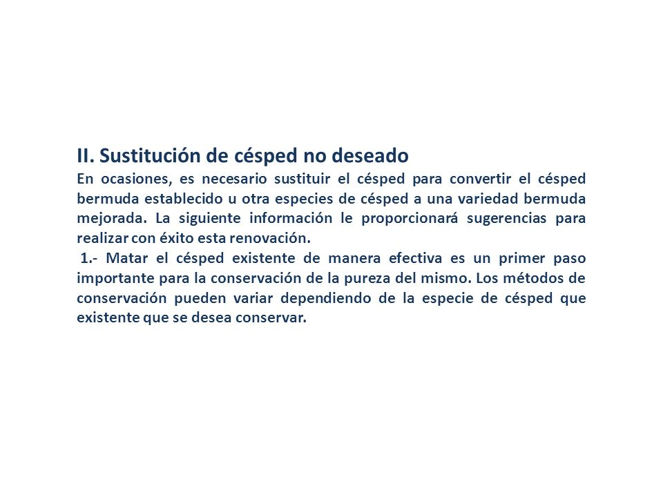 II. Sustitución de césped no deseado