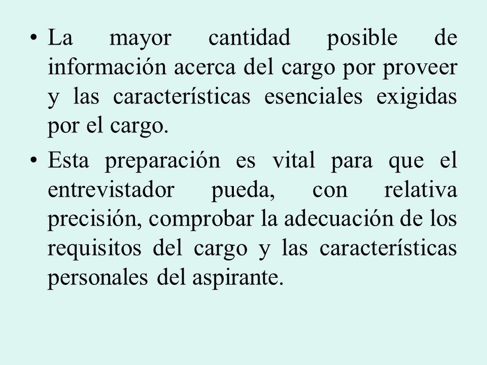 La mayor cantidad posible de información acerca del cargo por proveer y las características esenciales exigidas por el cargo.