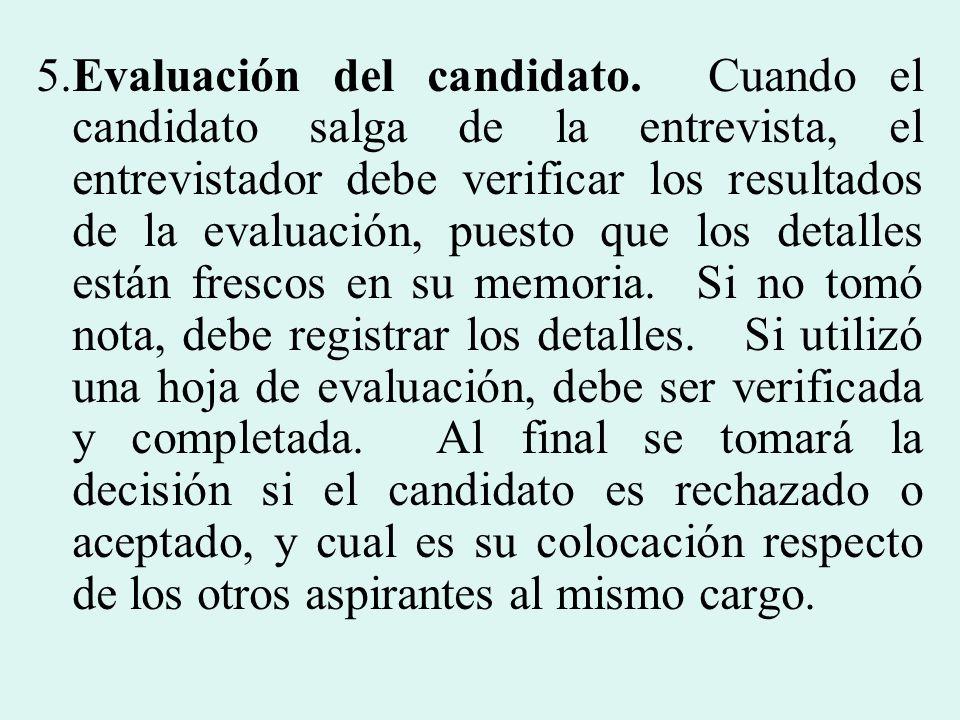 5. Evaluación del candidato