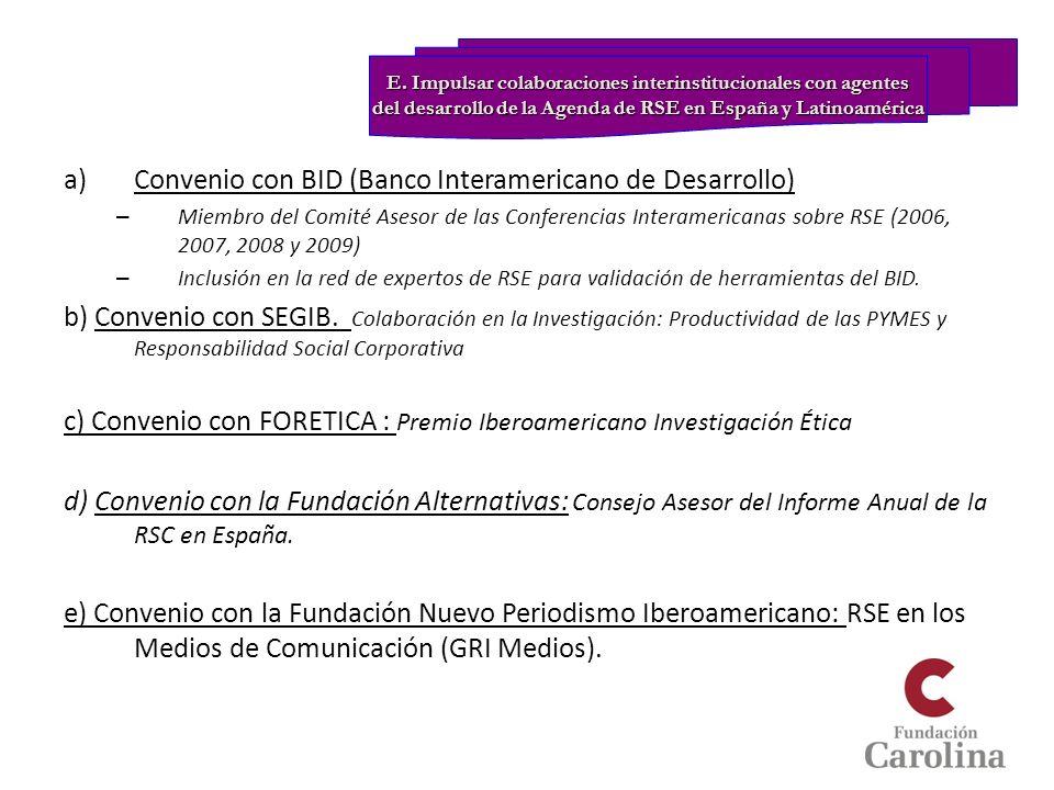 Convenio con BID (Banco Interamericano de Desarrollo)