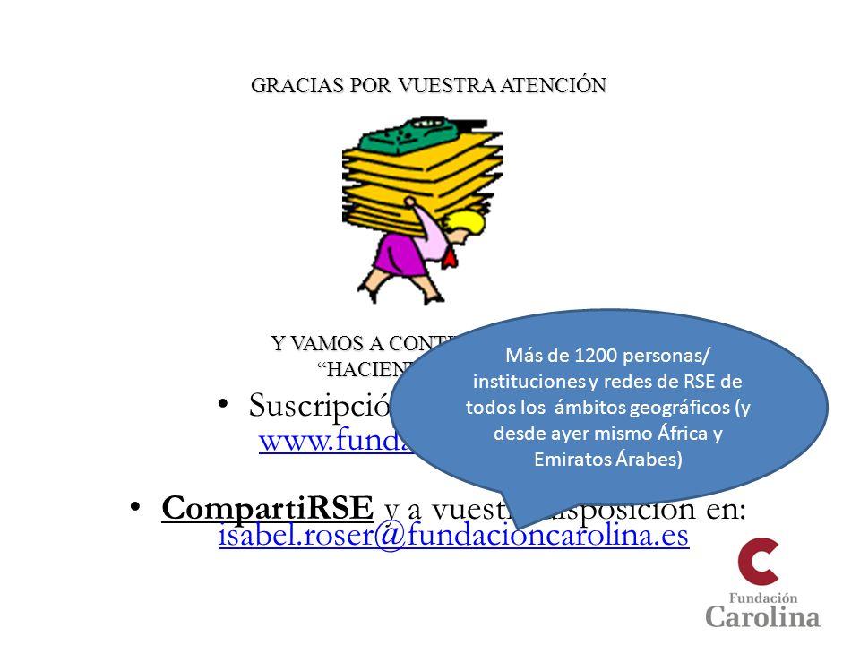 Suscripción a nuestro boletín: www.fundacioncarolina.es