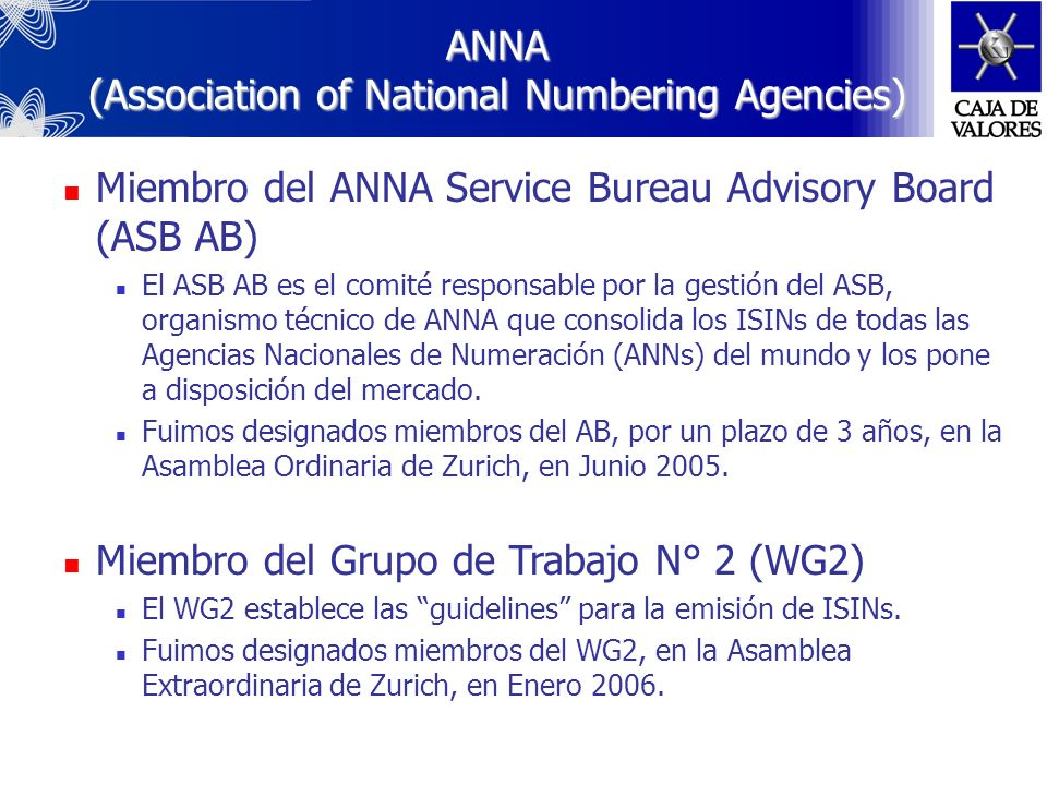ANNA (Association of National Numbering Agencies)