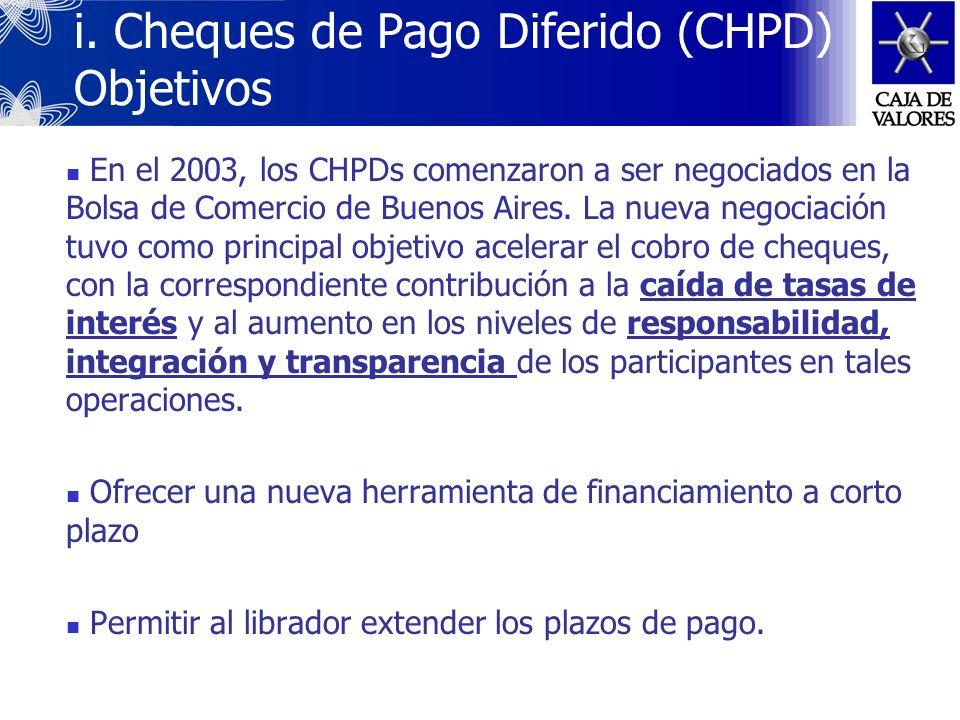 i. Cheques de Pago Diferido (CHPD) Objetivos