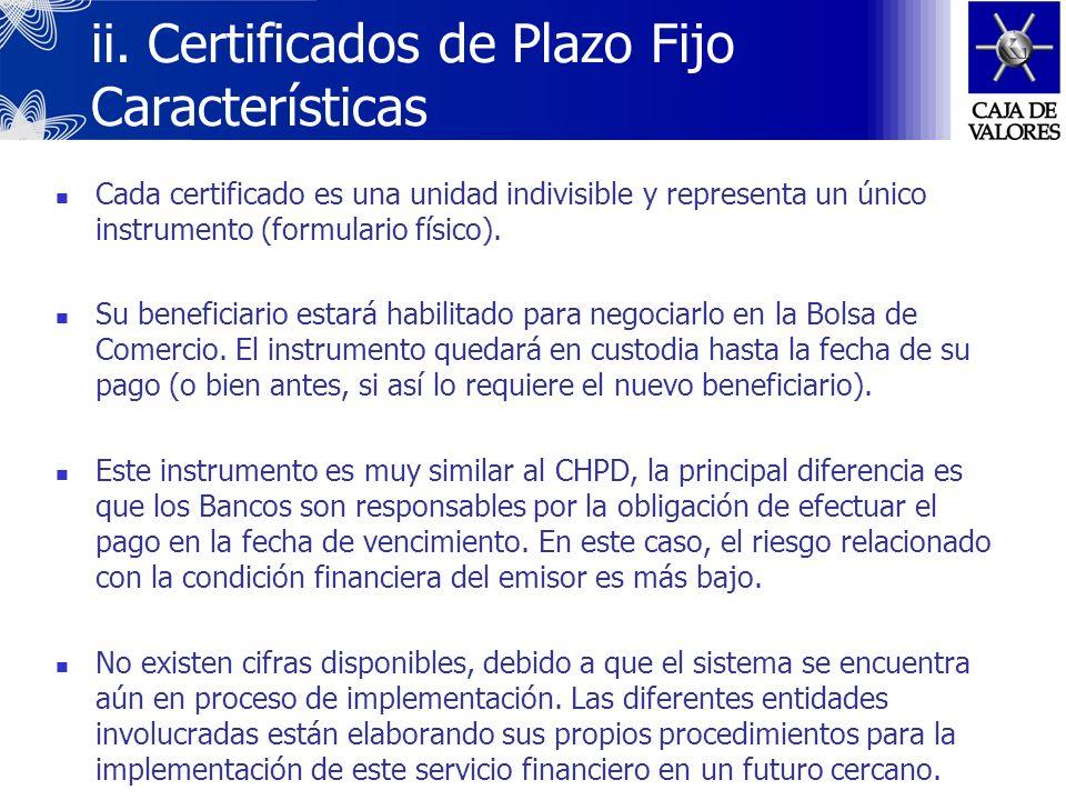 ii. Certificados de Plazo Fijo Características