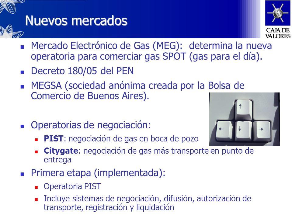 Nuevos mercadosMercado Electrónico de Gas (MEG): determina la nueva operatoria para comerciar gas SPOT (gas para el día).
