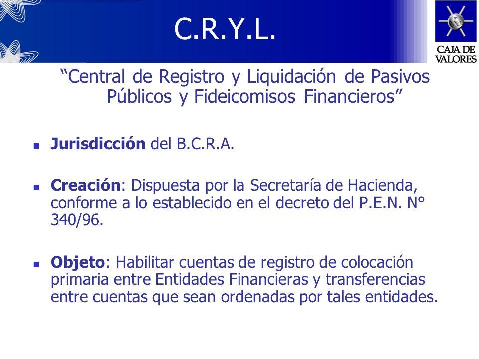 C.R.Y.L. Central de Registro y Liquidación de Pasivos Públicos y Fideicomisos Financieros Jurisdicción del B.C.R.A.