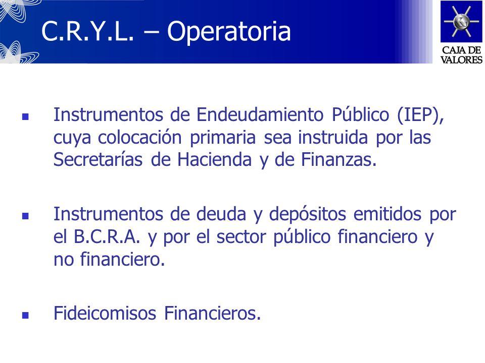 C.R.Y.L. – Operatoria