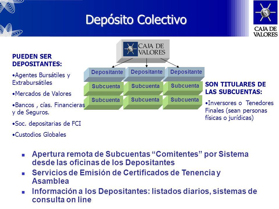 Depósito Colectivo PUEDEN SER DEPOSITANTES: Agentes Bursátiles y Extrabursátiles. Mercados de Valores.