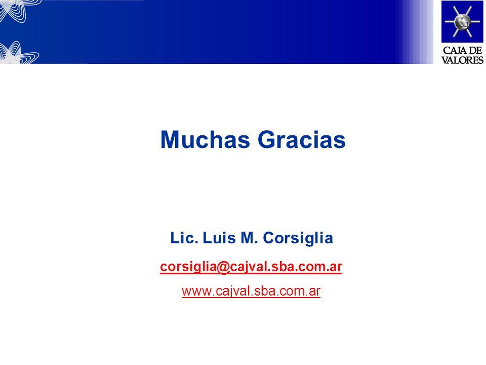 Muchas Gracias Lic. Luis M. Corsiglia corsiglia@cajval.sba.com.ar