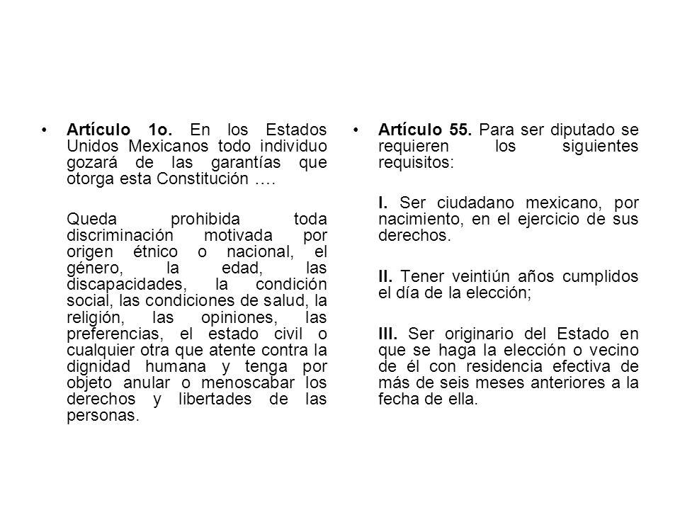 Artículo 1o. En los Estados Unidos Mexicanos todo individuo gozará de las garantías que otorga esta Constitución ….