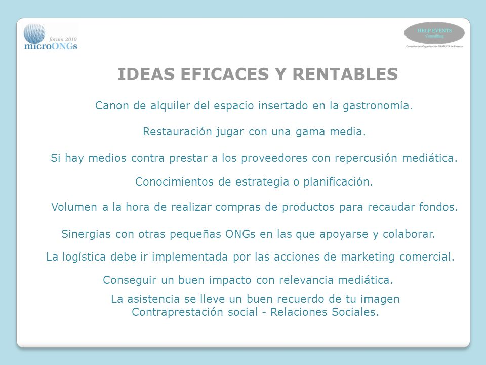 IDEAS EFICACES Y RENTABLES