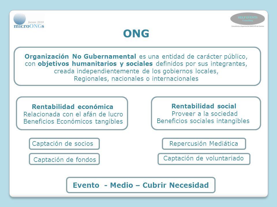 ONG Evento - Medio – Cubrir Necesidad