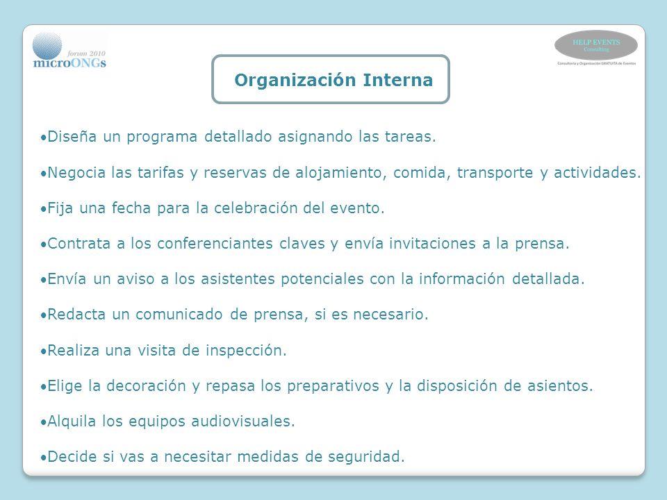 Organización Interna Diseña un programa detallado asignando las tareas.