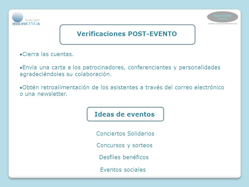 Verificaciones POST-EVENTO