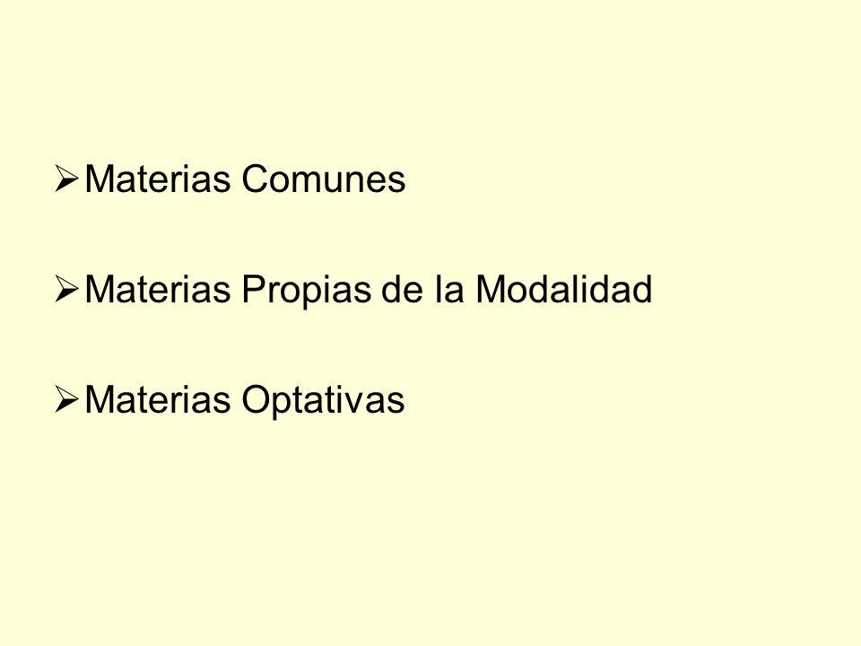 Materias Comunes Materias Propias de la Modalidad Materias Optativas