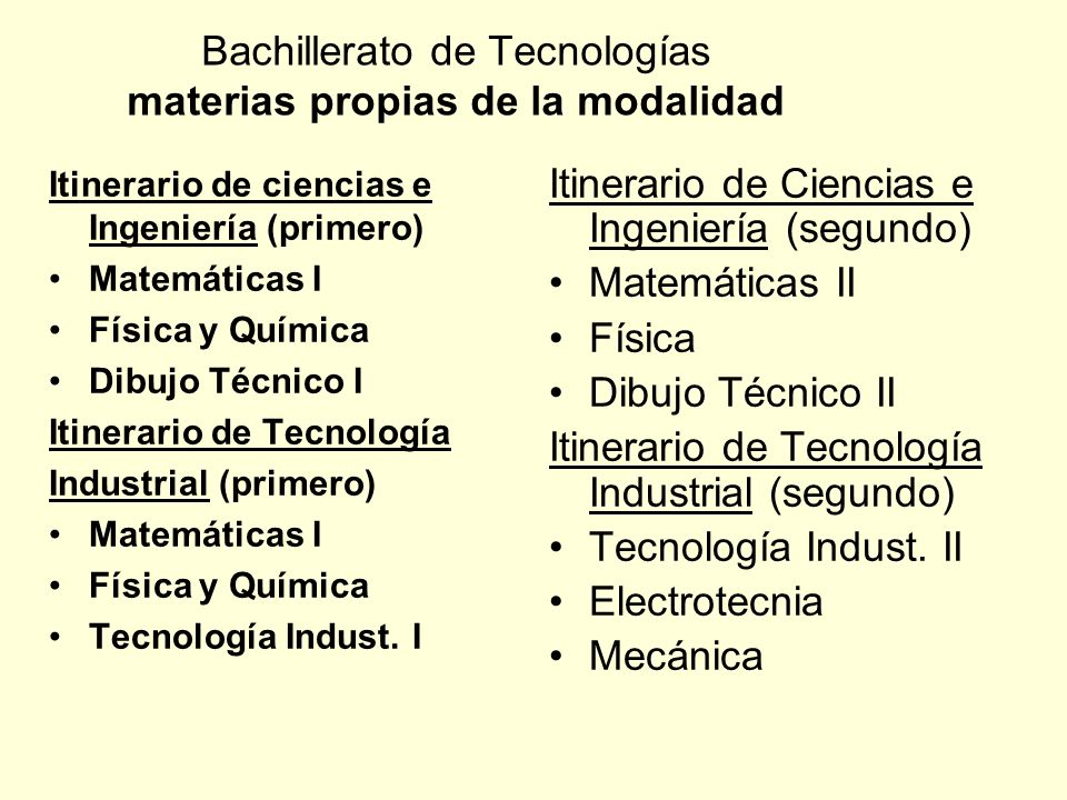 Bachillerato de Tecnologías materias propias de la modalidad