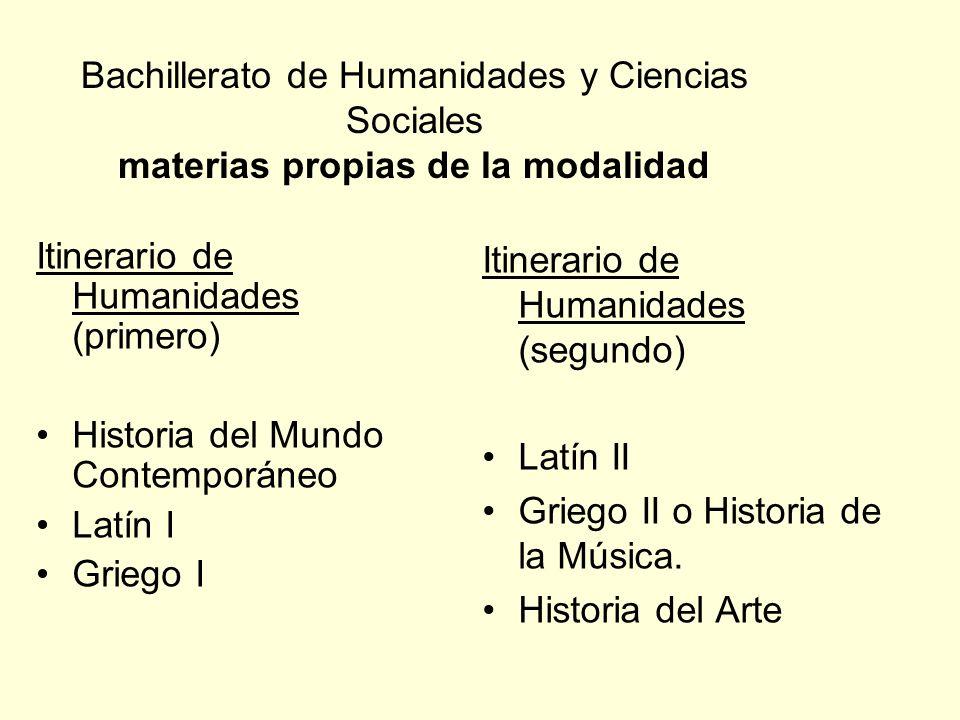 Bachillerato de Humanidades y Ciencias Sociales materias propias de la modalidad