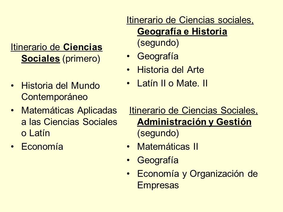 Itinerario de Ciencias Sociales (primero)