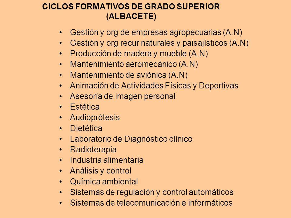 CICLOS FORMATIVOS DE GRADO SUPERIOR (ALBACETE)