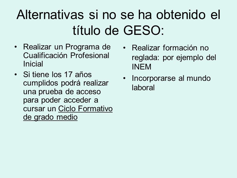 Alternativas si no se ha obtenido el título de GESO: