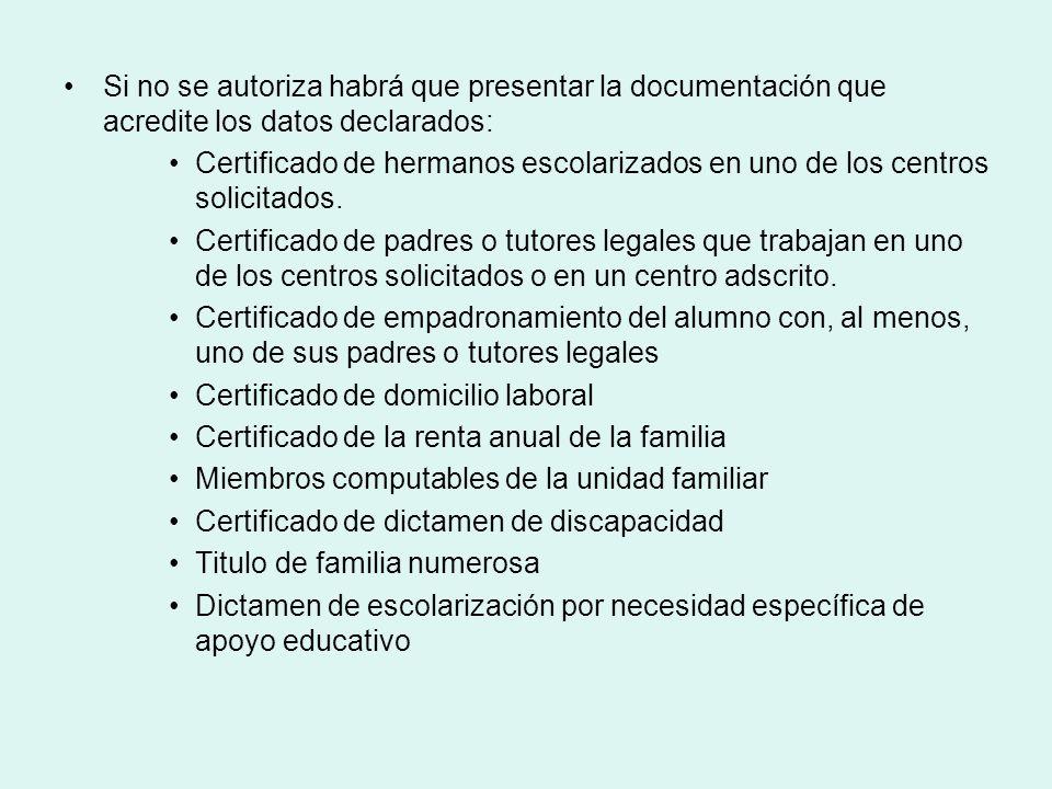 Si no se autoriza habrá que presentar la documentación que acredite los datos declarados: