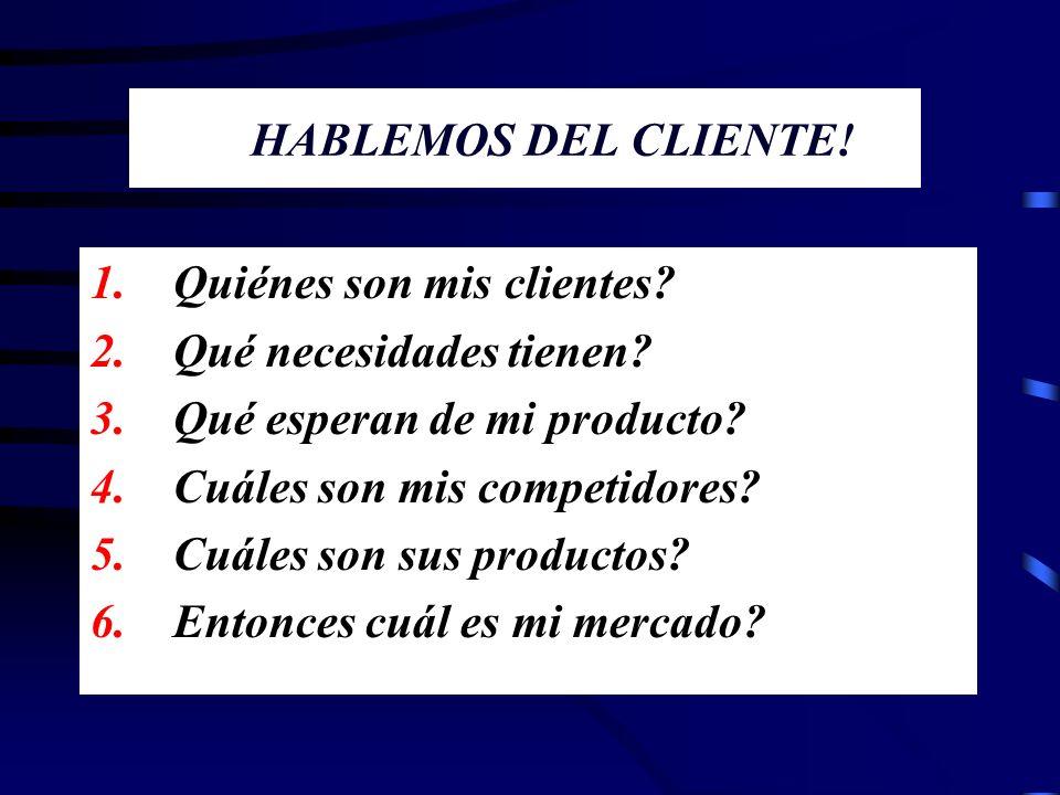 HABLEMOS DEL CLIENTE! Quiénes son mis clientes Qué necesidades tienen Qué esperan de mi producto