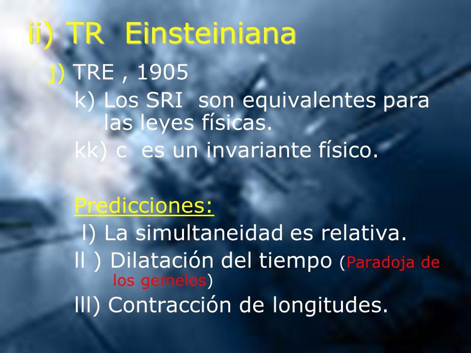 ii) TR Einsteiniana j) TRE , 1905