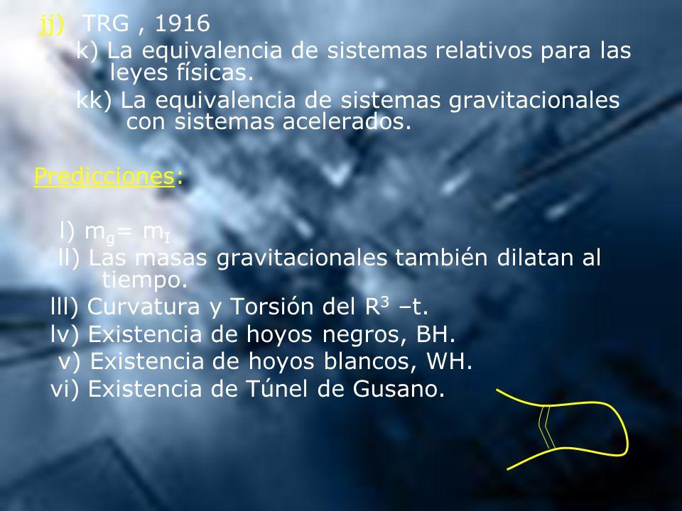 k) La equivalencia de sistemas relativos para las leyes físicas.