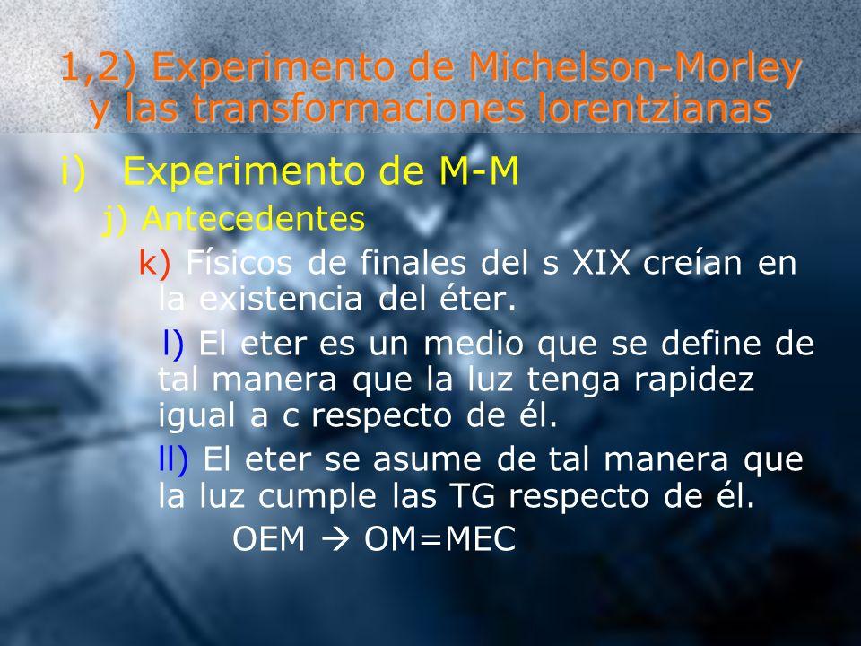 1,2) Experimento de Michelson-Morley y las transformaciones lorentzianas