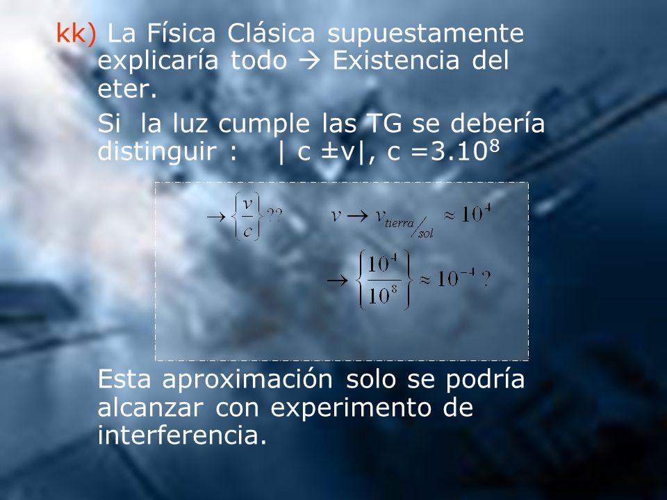 kk) La Física Clásica supuestamente. explicaría todo  Existencia del
