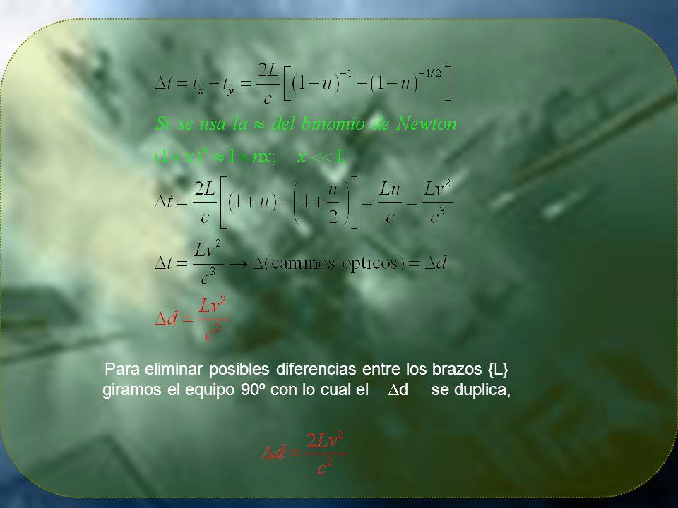 Para eliminar posibles diferencias entre los brazos {L} giramos el equipo 90º con lo cual el d se duplica,