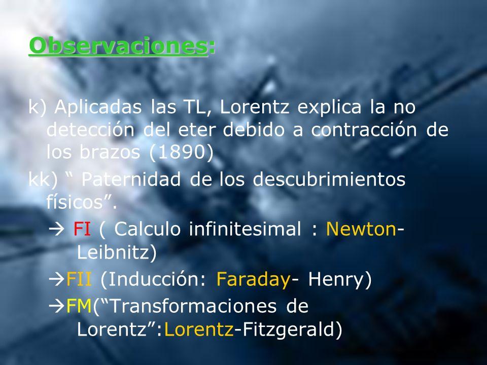 Observaciones: k) Aplicadas las TL, Lorentz explica la no detección del eter debido a contracción de los brazos (1890)