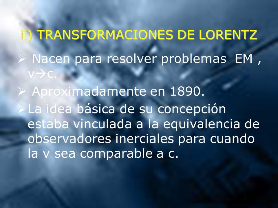 ii) TRANSFORMACIONES DE LORENTZ