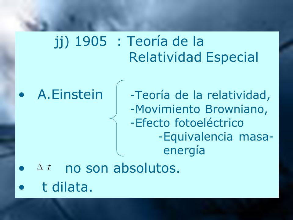 jj) 1905 : Teoría de la Relatividad Especial