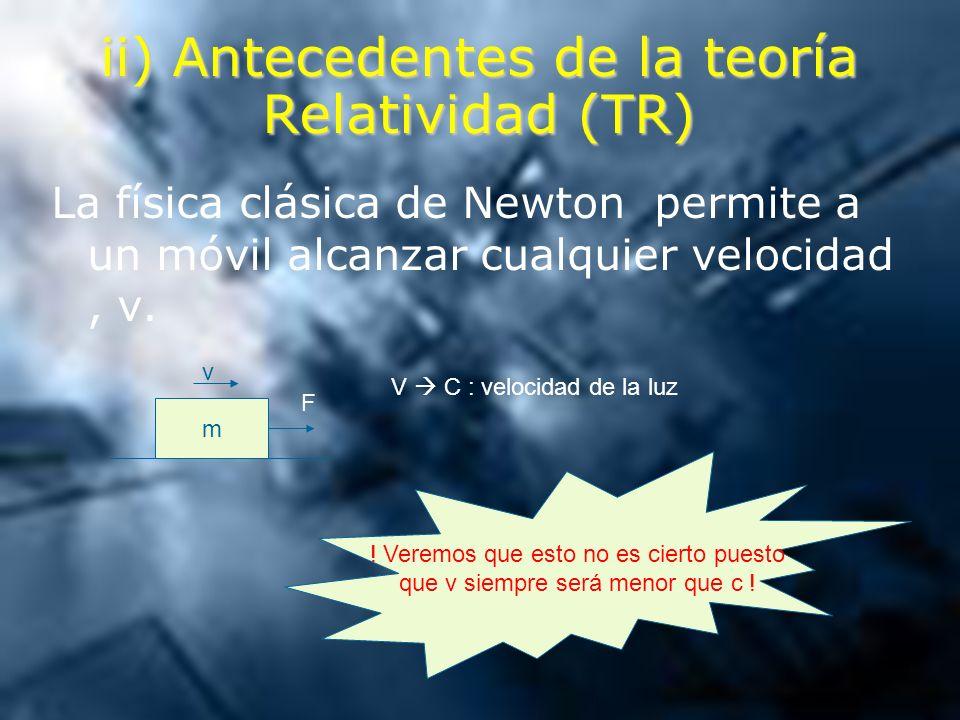 ii) Antecedentes de la teoría Relatividad (TR)