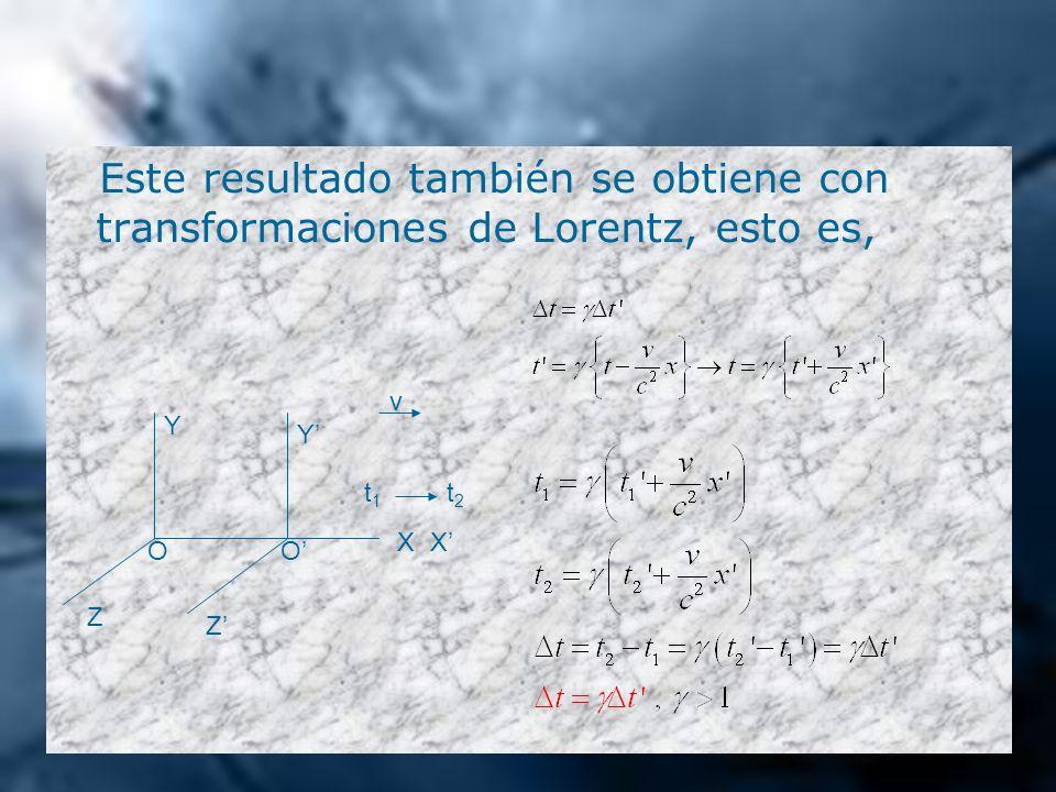 Este resultado también se obtiene con transformaciones de Lorentz, esto es,