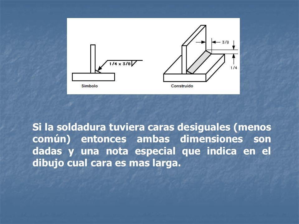 Si la soldadura tuviera caras desiguales (menos común) entonces ambas dimensiones son dadas y una nota especial que indica en el dibujo cual cara es mas larga.