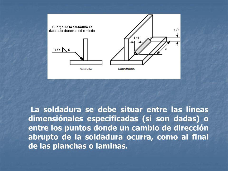 La soldadura se debe situar entre las líneas dimensiónales especificadas (si son dadas) o entre los puntos donde un cambio de dirección abrupto de la soldadura ocurra, como al final de las planchas o laminas.
